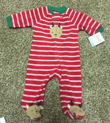 Just One You By Carter's Christmas Footie Pajamas Sz 3 Mos NWT Reindeer Red