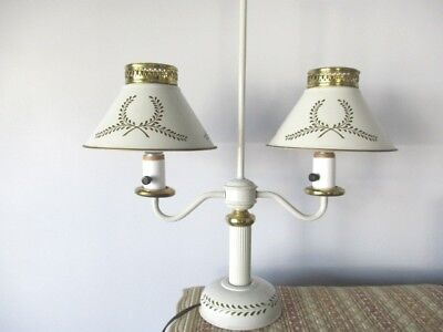 Handsome Antique Off-White Metal Double Student Table Reading Lamp Light