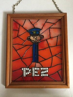 Unique Pez Candy Stained Glass Art Framed Cop Officer L@@K Maybe One Of A Kind?