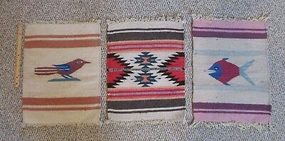 Vintage 20 x 14 Mexico Wool Woven Wall Hanging Tapestry Folk Art Bird Fish Aztec