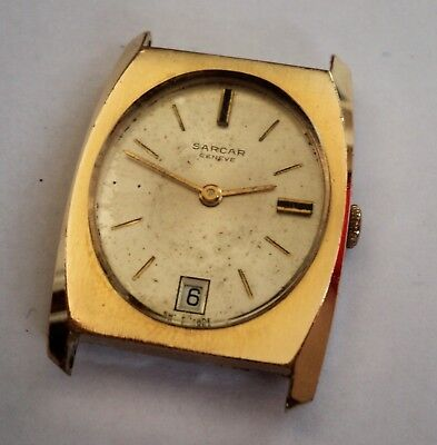 Vintage Sarcar Geneve 17 Rubis Jewels Mechanical  Mens Swiss Watch Day Date