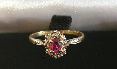 Ring 750 Gold Rubin Diamanten Entourage vintage