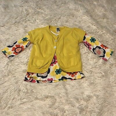 Carters Girls Size 24 Months Two Piece Sweater Set Yellow Floral