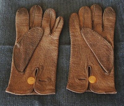 Pair Vintage Kid Gloves Button Close Lady 9? Small Man Size 8? As New #8