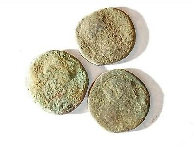 3 ANCIENT ROMAN COINS AE2 LARGE - Uncleaned and As Found! - Unique Lot L21118
