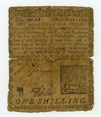 (PA-138) March 10th, 1769 1 Shilling PENNSYLVANIA Colonial Currency Note