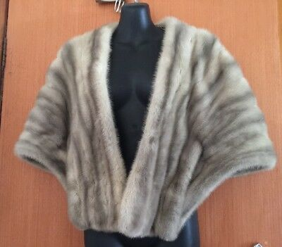 Vintage Real Fur Stole Women's Fashion Design Large With Pockets Authentic Fur