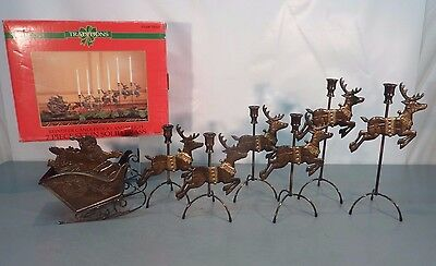 """36"""" Traditions SOLID BRASS Antiqued 7 Piece REINDEER CANDLESTICKS +SLEIGH 3 ft"""