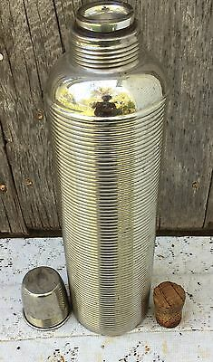 """Vintage thermos no 50 Bottle Metal Ribbed with cup 12"""" to rim"""