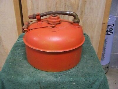 Vintage EAGLE Fuel GAS CAN Metal Brass Swivel Pour Spout w/wood handle 2 1/2 Gal