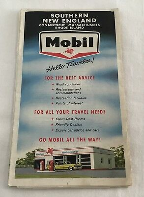 Vintage Mobil Southern New England Southern New England Highway Map 1961