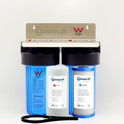 """Whole House  Water Filter System 10"""" x 4.5"""" Big Blue (2 stages) Sediment Carbon"""