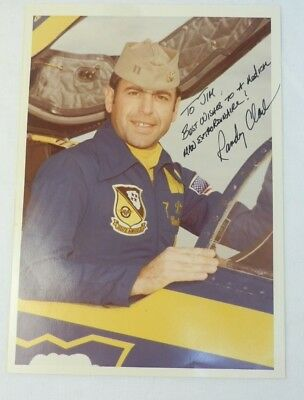 Blue Angel Randy Clark Signed Pilot Photo A-4 Skyhawk Navy Airshow Pilot Scooter