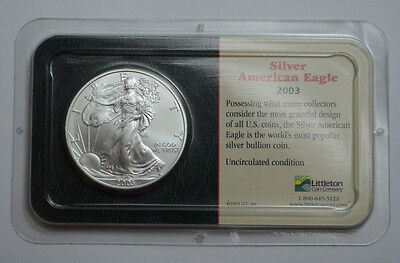 2003  American Silver Eagle Dollar 1 oz fine silver Unc., In Littleton Coin Pack