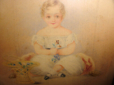 Antique 1800 Listed British artist William Warman watercolor portrait young girl