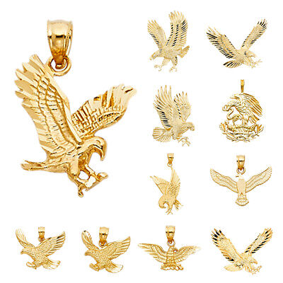 14K Real Solid Yellow Gold Eagle Pendant Collections For Men Women Eagle Pendant