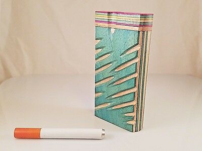 "Zig Zag Wooden Tobacco Dugout Set with pipe 4"" Spring Loaded"
