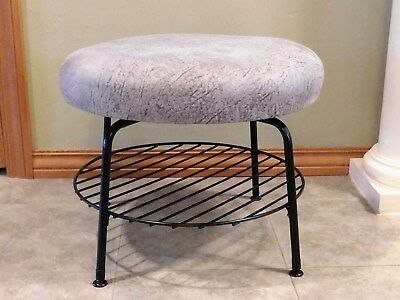 Vintage Antique Mid Century Mod Swivel Ottoman Footstool Bench with Wire Shelf