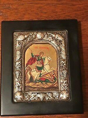Vintage Sterling Silver Repousee Framed St. George Russian Icon Certified