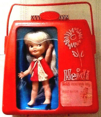 Vintage Heidi Pocketbook Doll with Case by Remco Magic button hand-Waving action