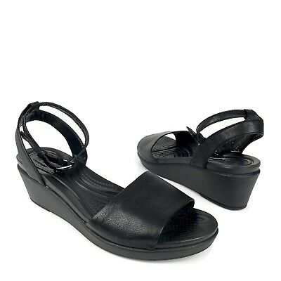 f179e4e9bd2c CROCS WOMENS SANDALS Black Leather Strappy Leigh Ann Wedge Size 11 ...