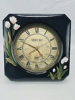 Kenroku Vtg Black Lacquer Quartz Japanese Wall Easel Clock Chic Pink Tulip