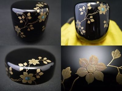 Japanese Traditional Lacquer Wooden Tea Caddy CLEMATIS makie Chu-Natsume (730)