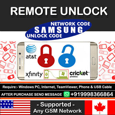 At&t Cricket Xfinity USA Samsung Galaxy S9 S9+ Plus Remote Unlock Code Service