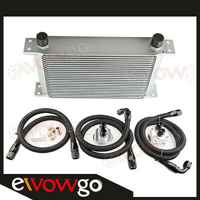 25 ROW ALUMINUM ENGINE OIL COOLER+RELOCATION KIT+3x NYLON COVER BRAIDED LINES