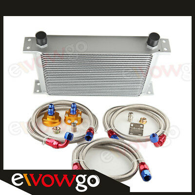 25 Row Aluminum Engine Oil Cooler + Relocation Kit + Ss Double Braided Lines
