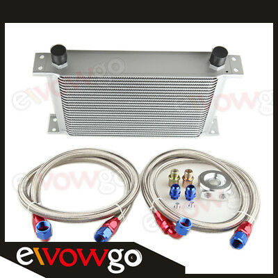 25 Row Aluminum Engine Oil Cooler + Relocation Kit + 2Pcs Ss Braided Lines