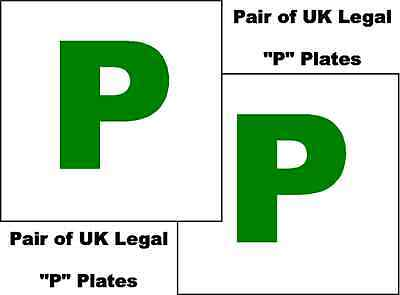 2 X UK Legal P Plates Self Adhesive Stick On Vinyl Weatherproof