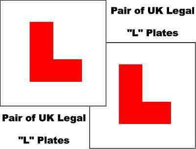 2 X UK Legal L Plates Self Adhesive Stick On Vinyl Weatherproof