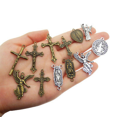 12pcs Vintage Style Jesus Cross Virgin Mary Pendants Charms Metal Jewelry Crafts