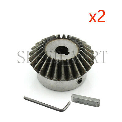 2pcs 2M25T Metal Umbrella Bevel Gear Helical Motor Gear 25 Tooth 24mm Bore