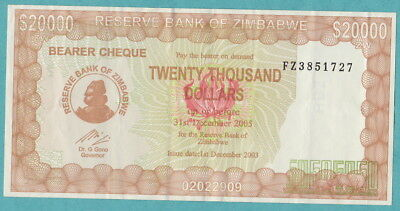 ZIMBABWE $20,000 Dollars Banknote - 2005 (GOVERNOR'S SIGNATURE):  Bearer Cheque