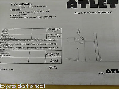Spare Parts Book Atlet Electric Stacker Pallet Truck Csd125/160 P