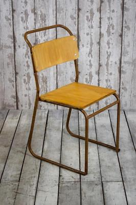 Vintage Mid Century Industrial Stacking Cafe Bar Kitchen Dining Chairs