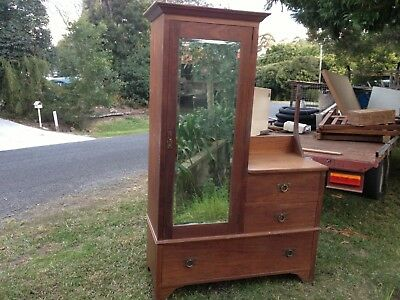 antique wardrobe dresser great piece to restore 100%solid timber , pic up maleny