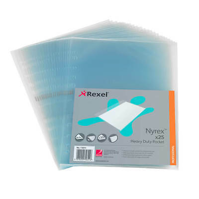Rexel Nyrex Pocket Heavy-duty Side-opening A4 Clear 11011 Pack 25