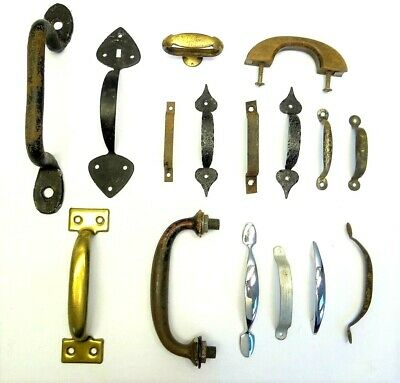 Antique Vintage Mixed Lot Wood Metal Iron Brass Cabinet Door Pulls Handles Parts