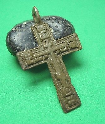 Ancient Bronze Cross Wearable Pendant Antique Rare C29