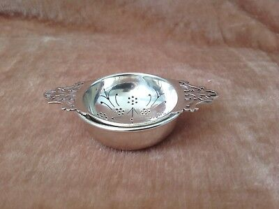 Beautiful Sterling Silver Tea Strainer And Bowl Very Good Used Condition .
