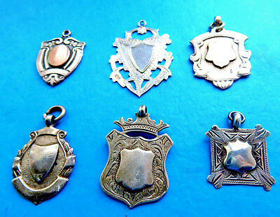 6 Antique,sterling Silver/gold Engraved  Watch Chain Fobs,pendant,1Or Dog Tags