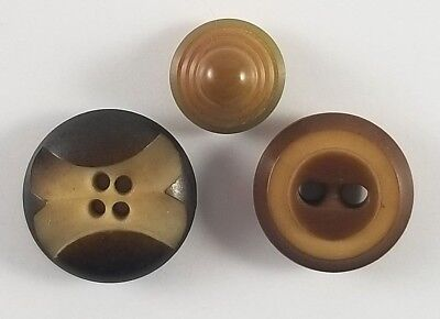 3 Vintage Carved Vegetable Ivory Buttons Cone Shape