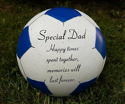 Dad Grave Memorial Ornament Remembrance Blue Football  Plaque Dad