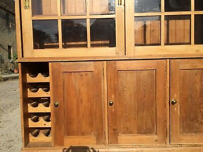 ANTIQUE PINE DRESSER Sideboard/Dresser/Cupboard with sliding glazed doors
