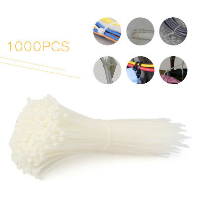 "1000 PCS 8"" White Network Cable Cord Wire Ties Strap Zip Fasten Wrap Nylon"