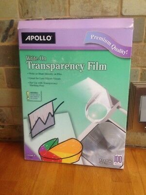 Apollo Write-On Transparency Film 8.5 x 11 Inches Clear 100 Sheets per Box