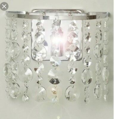 Pair of bhs chrome metal and glass crystal effect lamp bases pair of saskia crystal wall lights by bhs chrome aloadofball Gallery